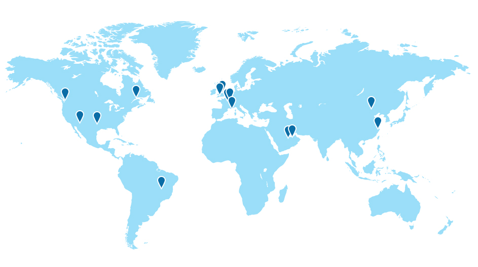 Map of Informa Exhibitions Offices Globally