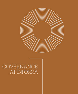 Front cover of Informa's 2019 governance report. It has brown background with a white circular line in the upper center and multiple outer rings outside it.